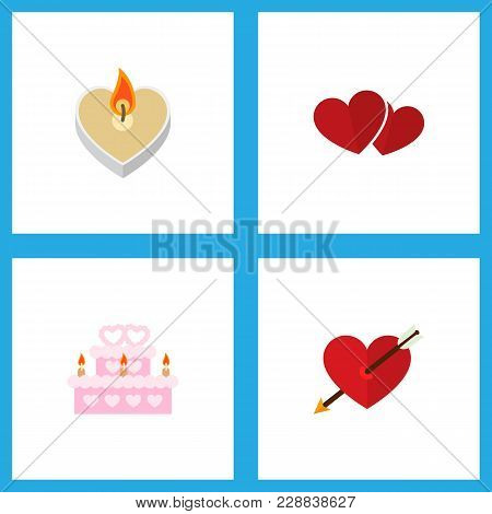 Icon Flat Amour Set Of Wedding Cake, Love, Arrow And Other Vector Objects. Also Includes Heart, Love