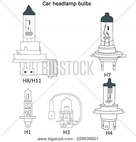 Car Automobile Headlamp Bulbs With White Isolated Backgroung Vector Icon H1 H3 H4 H7 H8 H11