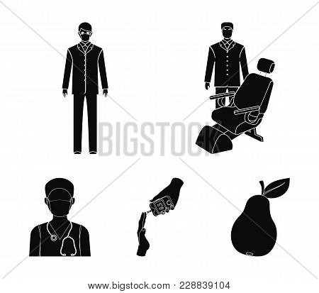 Doctor In A Face Mask, Dentist, Medical Staff, A Blood Test For Sugar. Medicineset Collection Icons