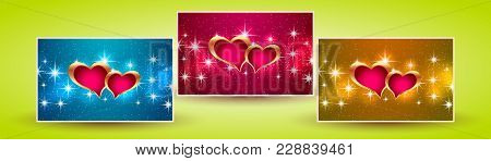 Banners Hearts Valentine. Stars On The Background. Vector Illustration