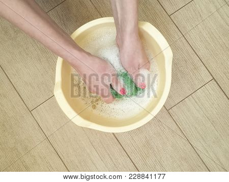 Hands Washing Color Clothes In Basin Froth, Self-service