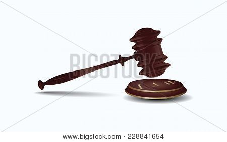 Judge Hammer With Round Stand - Isolated On White Background - Art Vector