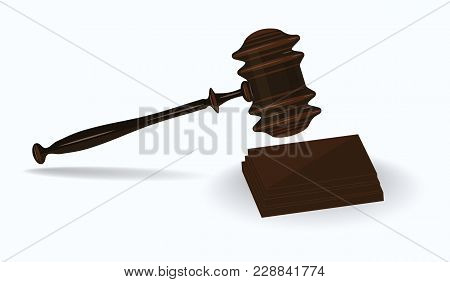 Judge's Hammer Realistic With Square Stand - Isolated On White Background - Art Vector