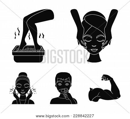 Face Massage, Foot Bath, Shaving, Face Washing. Skin Care Set Collection Icons In Black Style Vector