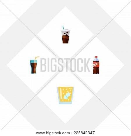 Icon Flat Drink Set Of Cup, Juice, Lemonade And Other  Objects. Also Includes Drink, Lemonade, Carbo