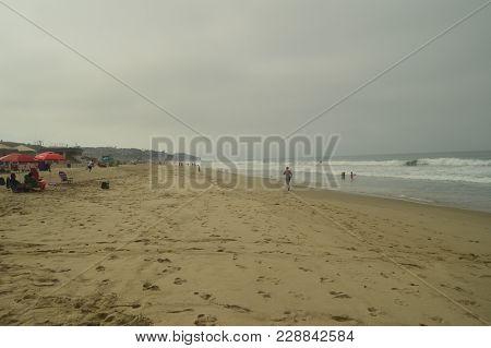 Paradisiacal Malibu Beaches On A Cloudy Day. Sport Nature Landscape. July 4, 2017. Malibu California
