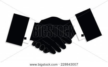 Greetings Gesture Of Two Male Hands - Isolated On White Background - Vector Art. Business Logo