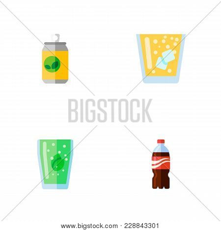 Icon Flat Beverage Set Of Fizzy Drink, Juice, Lemonade And Other  Objects. Also Includes Drink, Lemo