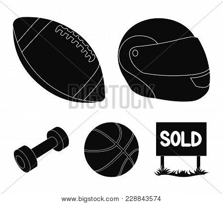 Red Protective Helmet, Rugby Ball, Basketball Ball, Dumbbells. Sport Set Collection Icons In Black S