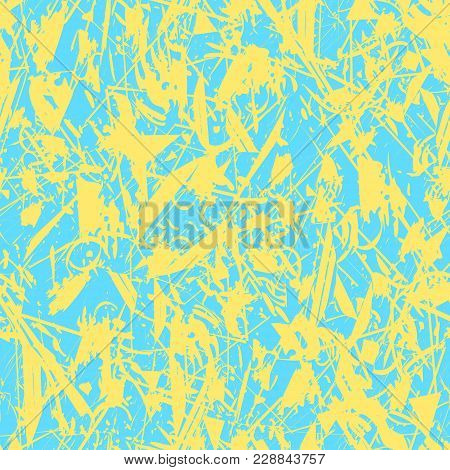 Vector Abstract Spring Or Summer Background. Grunge Seamless Pattern. Blue And Yellow. Abstract Vect
