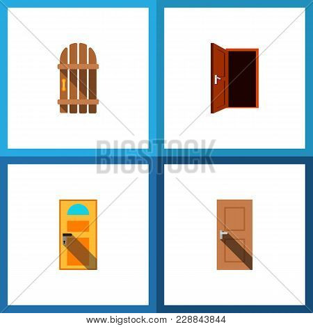 Icon Flat Door Set Of Entry, Gate, Door And Other  Objects. Also Includes Door, Exit, Approach Eleme