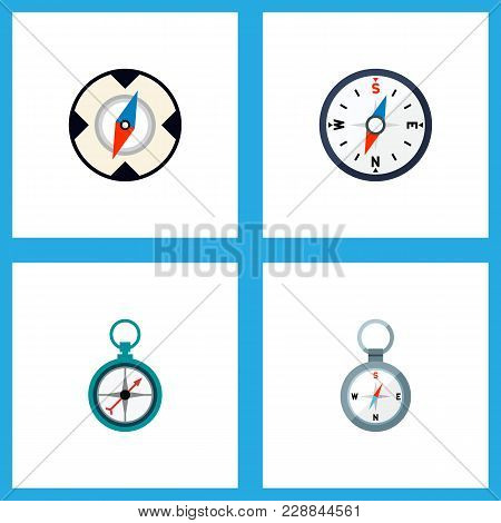 Icon Flat Direction Set Of Direction, Magnet Navigator, Navigation And Other  Objects. Also Includes