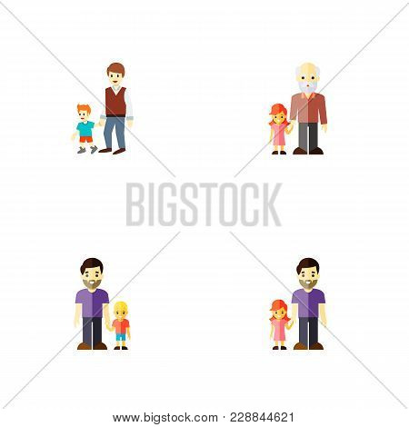 Icon Flat Relatives Set Of Grandchild, Daugther, Brothers  Objects. Also Includes Family, Father, Gr