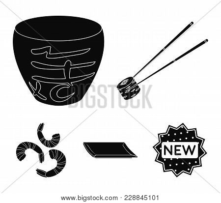 Sticks, Shrimp, Substrate, Bowl.sushi Set Collection Icons In Black Style Vector Symbol Stock Illust