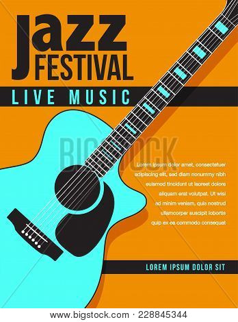 Jazz Music Concert, Poster Background Template With Generic Acoustic Guitar. Flyer Design