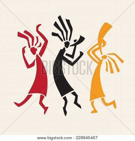 Stylized Musicians Dancing Figures. Primitive Art. Vector Illustration.