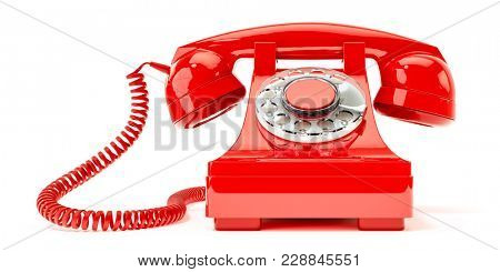 3d illustration of an old red phone