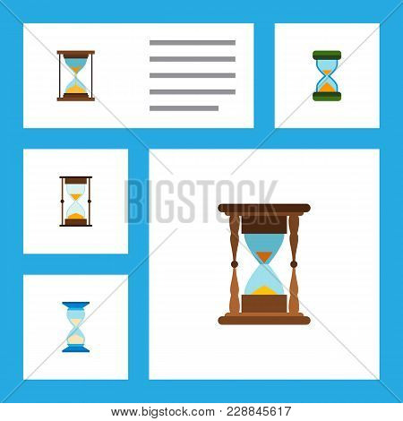 Icon Flat Sandglass Set Of Minute Measuring, Sandglass, Hourglass  Objects. Also Includes Sandglass,