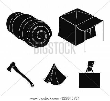Tent With Awning, Ax And Other Accessories.tent Set Collection Icons In Black Style Vector Symbol St