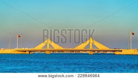 Shaikh Isa Bin Salman Causeway Bridge Connecting Manama And Muharraq In Bahrain. The Persian Gulf