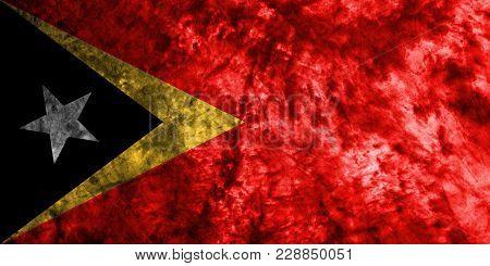 East Timor Grunge Background Flag, Old Vintage Look