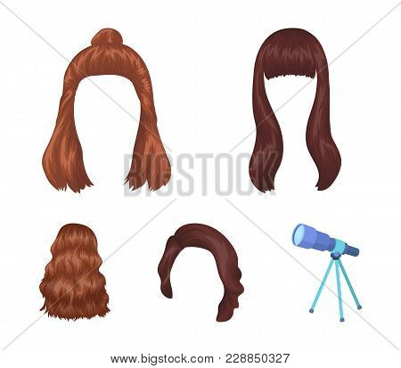 Long, Red And Other Types Of Hairstyles. Back Hairstyle Set Collection Icons In Cartoon Style Vector