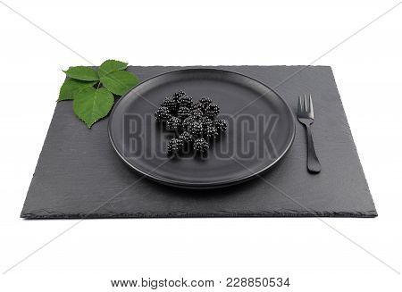 Colorful And Crisp Image Of Blackberries On Plate And Shale