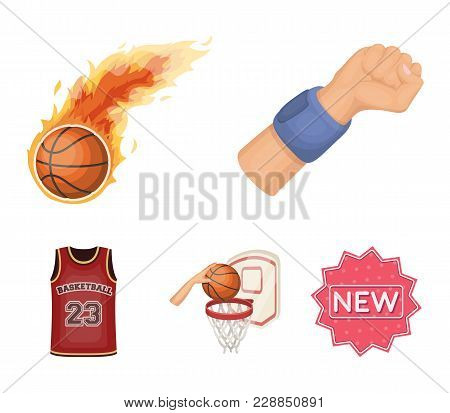 Basketball And Attributes Cartoon Icons In Set Collection For Design.basketball Player And Equipment