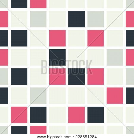 Seamless Pattern Of Colored Squares. Colored Squares, Mosaic With White Border. An Endless Pattern.