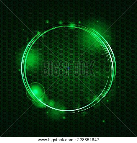 Abstract Green Mesh Metallic Plate And Green Glowing Circles Background