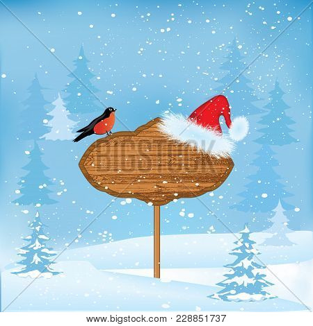 Winter Snow-covered Forest, Santa Claus Hat, Bullfinch, Advertisement Board - Art Modern Abstract, V