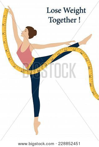 Measuring Tape - Woman Exercising Fitness - Isolated On White Background - Art Vector Illustration.