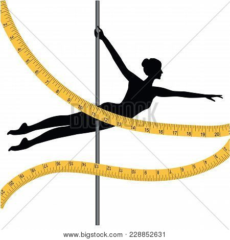 Sports Dancing On Pole - Woman And Measuring Tape - Isolated On White Background - Art Vector Illust