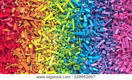 Lot Of Colorful Rainbow Toy Bricks Background. Educational Toys For Children. 3d Rendering