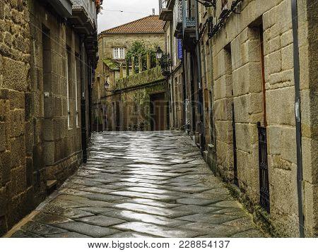 Narrow Streets In The Medieval Village Of Allariz In Galicia, Spain