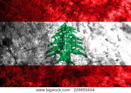 Lebanon Grunge Background Flag, Old Vintage Look