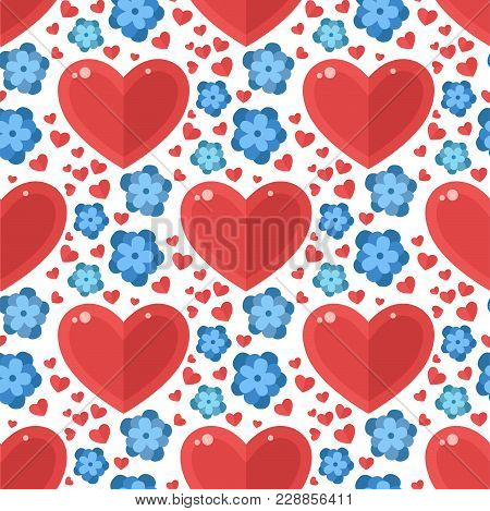 Red Heart Flowers Vector Seamless Pattern Background Floracolor Card Beautiful Celebrate Bright Emot