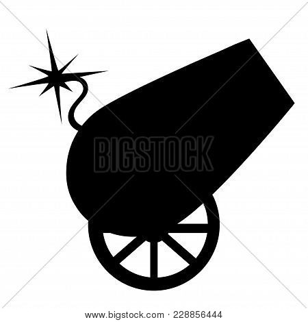 Black Silhouette Circus Design Cannon On Wheels With Burning Wick Vector Illustration On White Backg