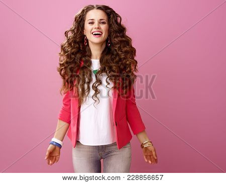 Happy Stylish Woman Isolated On Pink Background
