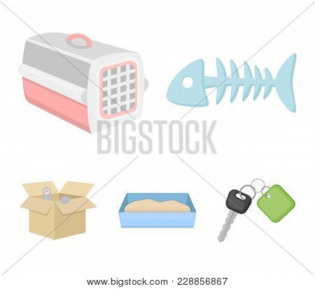 Fish Bone, Container For An Animal, Cat's Toilet, Cat In A Box. Cat Set Collection Icons In Cartoon