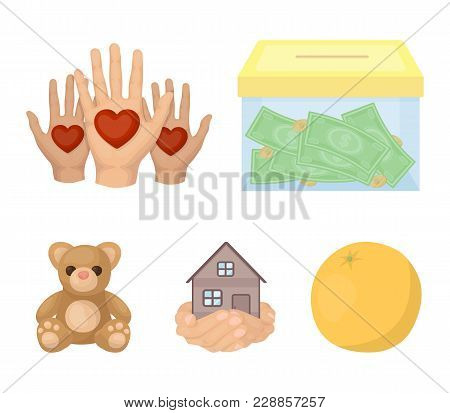 Boxing Glass With Donations, Hands With Hearts, House In Hands, Teddy Bear For Charity. Charity And