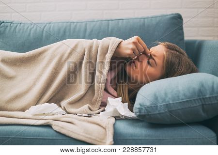 Woman Having Pain In Sinus And Fever.