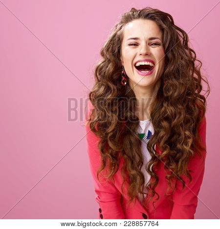 Happy Modern Woman Isolated On Pink Background