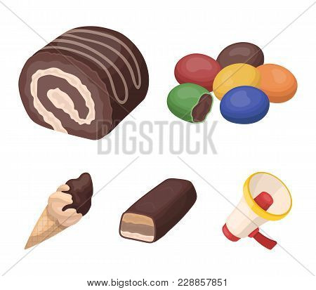 Dragee, Roll, Chocolate Bar, Ice Cream. Chocolate Desserts Set Collection Icons In Cartoon Style Vec