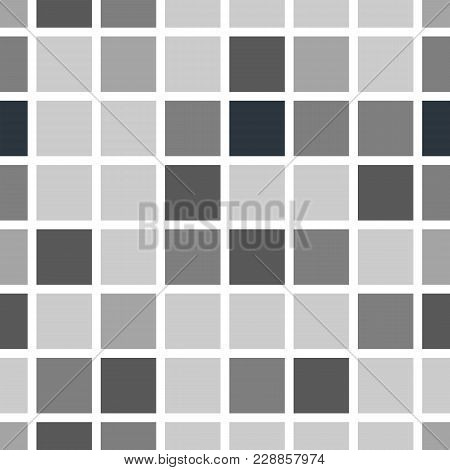 Background With Gray Squares. Squares Of Gray Shades, Mosaic With White Edging. Endless Seamless Pat