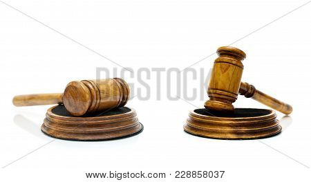 Wooden Gavel Closeup On A White Background. Horizontal Photo.