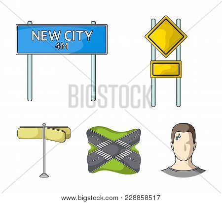 Road Signs And Other  Icon In Cartoon Style.road Junctions Icons In Set Collection.