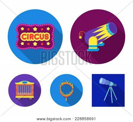 Circus Trailer, Circus Gun, Burning Hoop, Signboard.circus Set Collection Icons In Flat Style Vector