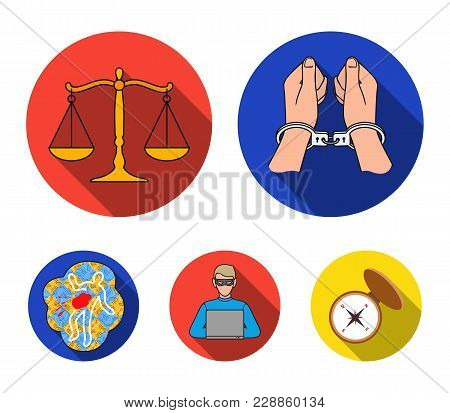 Handcuffs, Scales Of Justice, Hacker, Crime Scene.crime Set Collection Icons In Flat Style Vector Sy