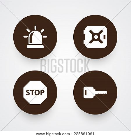 Set Of 4 Procuring Icons Set. Collection Of Strongbox, Sign, Alarm And Other Elements.